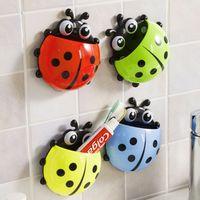 alloet 1PCS Cute Ladybug Insect Wall Bathroom Sets Cartoon Sucker Toothbrush Holder /