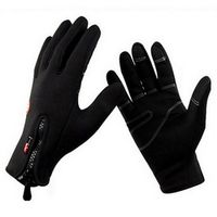DICHSKI Men Women Black Nylon Mittens Sports Cycling Gloves Windproof Warm Zipper