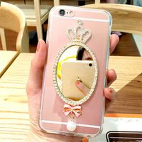For Samsung A3 A5 A7 J1 J2 J3 J5 J7 2016 A8 A9 2017 Prime Rhinestone crown mirror transparent mobile phone case soft cover