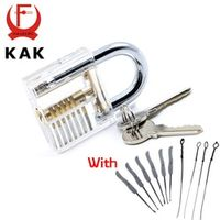 KAK Transparent Visible Pick Cutaway Practice Padlock Lock With Broken Key Removing Hooks Lock Kit Extractor Set Locksmith Tool