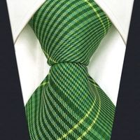 B19 Green Checkes Silk Wedding Mens Necktie Set Fashion Classic Ties for male Dress Hanky extra long size 63""