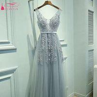 TANYA BRIDAL Navy Blue Pink Grey Prom Dresses Evening Dress