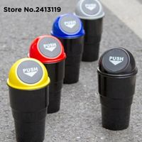 Thie2e car trash rubbish can automotive vehicle garbage dust holder interior litter