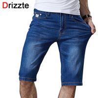 Drizzte Mens Summer Stretch Lightweight Blue Denim Jeans Short for Men Jean Shorts Pants Plus Size 32 33 34 35 36 38 40 42 44 46