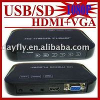 JEDX USB Full 1080P HDD Media Player HDMI VGA with SD/MMC Card reader MKV H.264 RM