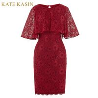 Kate Kasin Elegant Short Lace Dress for Wedding Knee Length