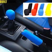 2Pcs Universal Manual Gear Shift Collars Silicone Head Shift Knob Handbrake Grip Car