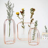 FGHGF Affordable Lluxury 1Set Nordic Style Glass Iron Vase