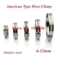 20pcs 6-12mm(6mm-12mm) American Type Screw Band Worm Drive Hose Clamps, 304 Stainless steel hose Hoop Pipe Clips