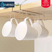 everso 10 Hooks Pantry Cabinet Kitchen Mug Holder Utility Cookware Rack Hanging