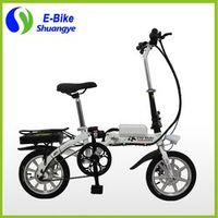 "Shuangye 14"" mini foldable electric bicycle 36v10ah lithium battery"