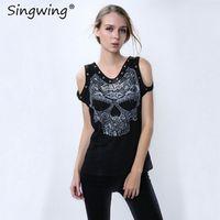 Singwing Skeleton O-neck Off Shoulder Femme Fitness Women