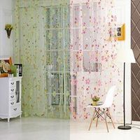 Flower Floral Door Window Curtain Drape Panel Scarf Voile Room Divider Door & Window Screens