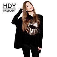 HDY Haoduoyi Autumn Black 3D Lips Print Women Hoodie V-neck