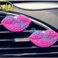 guppjg 1 PC red lips outlet perfume air freshener diamond vent car styling
