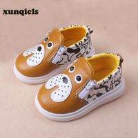 xunqicls Kids Boys PU Leather Shoes Baby Girls Cartoon Crib Shoes with Zipper Toddler Soft Soled Footwear