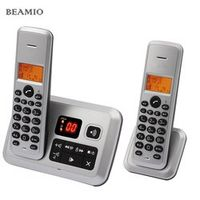 Beamio Digital European Telephone With Caller ID Answer System Silver With 2 Cordless