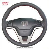 Yuji-Hong Top Layer Genuine Cow Leather Car Steering Wheel Covers Case for Honda CRV