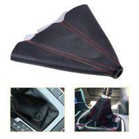 DWCX Universal Car Manual Auto Shifter Shift Knob Boot Cover Black Red Stitch PVC