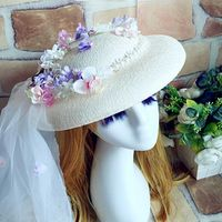 European Style Boho Bridal Hats Handmade Flower Wedding Hair Accessories Polka Dot Tulle Bridal Headwear Headpiece