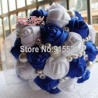 Luxury Sapphire Blue Ribbon Wedding Bouquet  Decorated High-Grade Pearl Diamond Ribbon Flower Bride Holding Flowers PH13
