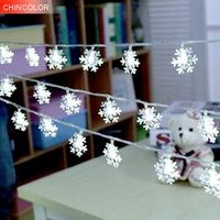 CHINCOLOR 1m 10leds Holiday lights Snowflake shape Led string Battery Operated Xmas