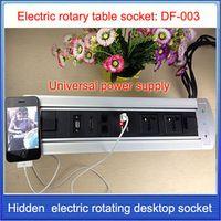 HDMI RJ45 Electric rotation Desktop socket /hidden/ multimedia USB charging