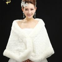 Jeanne Love Elegant Warm Faux Fur Ivory Bolero Wedding Wrap