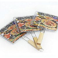 Barbecue Meat Burger Fish Long Handle Holder Grill Rack