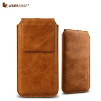 Jisoncase Pouch Genuine Leather Luxury Magnetic Closure Bag Cover for iPhone 7 7 Plus