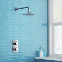 Amibronze 2 Dial 1 Way Bathroom Thermostatic Rain Shower Head Set Round Mixer Valve