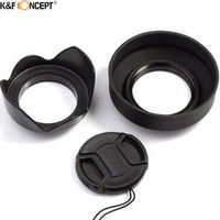 K&F CONEPT 62/67/72/77mm 3-Stage Collapsible Rubber Lens Hood+Petal Lens Hood+Center Pinch Lens Cap For Camera Sony Canon Nikon