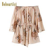 Bohoartist Women Print Slash Neck Floral Boho Style Short