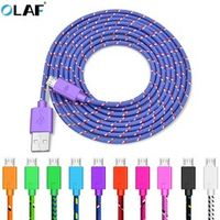 OLAF Nylon Braided Micro USB Cable 1m/2m/3m Data Sync Charger Cable For Samsung HTC