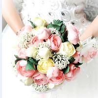 2017 New Arival Bridal Bouquets Cheap Romantic Unique Peony Colorful Bridal Handmade Artificial Wedding/Bridesmaid Bouquets
