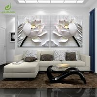 JHLJIAJUN Modular Pictures 3D Flower Lotus Canvas Painting