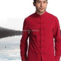 Red Men's Cotton Linen Long sleeve Kung Fu Shirt Classic Chinese Style Tang Clothing Size S M L XL XXL XXXL hombre Camisa Mim808