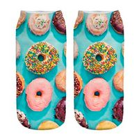 Whosale 3D Socks beauty short Women socks printed funny socks women cotton Colourful Donuts Character for girls  Stylish