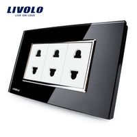 Livolo US Standard  2 Pins Socket, Black Tempered Glass, Wall Powerpoints With Plug,VL-C3C3A-82