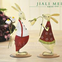 Free shipping,2pcs,High-21cm,Metal fashion lovers rabbit home decoration.birthday gift married,baby room christmas