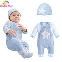 HE Hello Enjoy baby boys clothes casual newborn baby rompers stripe long sleeve t-shirt+print star overalls+hat 3pcs suit