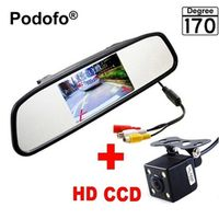 "Podofo Mini 4.3"" Car Rear View Mirror Navigation Lights Reversing Camera Parking"
