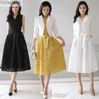 YaSuGuoJi 2018 spring sleeveless long lace dress with belt
