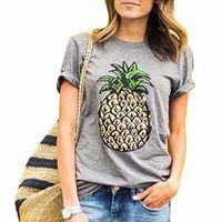 ZSIIBO BANVTX31 Fruit Print Pineapple Short Sleeve Woman