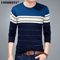 COODRONY 2017 Spring Autumn New Arrival Casual Striped O-Neck Sweater Men Knitted Wool Pullover Men Long Sleeve Shirt Homme 7135