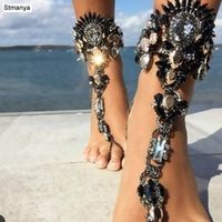 Facebook Fashion Ankle Bracelet Wedding Barefoot Sandals Beach Foot Jewelry Sexy Pie Leg Chain Female Boho Crystal Anklet  B0002