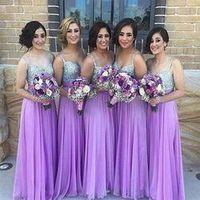 Sparkling Lavander Chiffon Sequins Bridesmaid Dresses Long 2016 Sexy Spaghetti Sheath vestido de festa de casamento