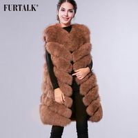 FURTALK 100% natural real fox fur vest long fur coat women winter fur fashion Russian fur waistcoat