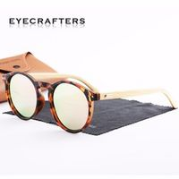 Polarized Mens Womens Vintage Retro Handmade Wood Sunglasses Eyecrafters Natural Bamboo Sunglasses  Round Eyewear Shades