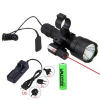 VASTFIRE Hunting Light Laser Dot Sight Scope Tactical Flashlight 2000lm XM-L T6 LED